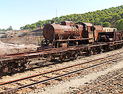 Old rusty abandoned railway steam engine Rio Tinto mining area, Minas de Riotinto, Huelva province, Spain