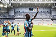 STOCKHOLM, SWEDEN - JULY 22: Aliou Badji of Djurgardens IF celebrates after the victory during the Allsvenskan match between Djurgardens IF and BK Hacken at Tele2 Arena on July 22, 2018 in Stockholm, Sweden. Photo by Nils Petter Nilsson/Ombrello ***BETALBILD***