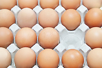 Full-frame shot of brown eggs in carton with empty block