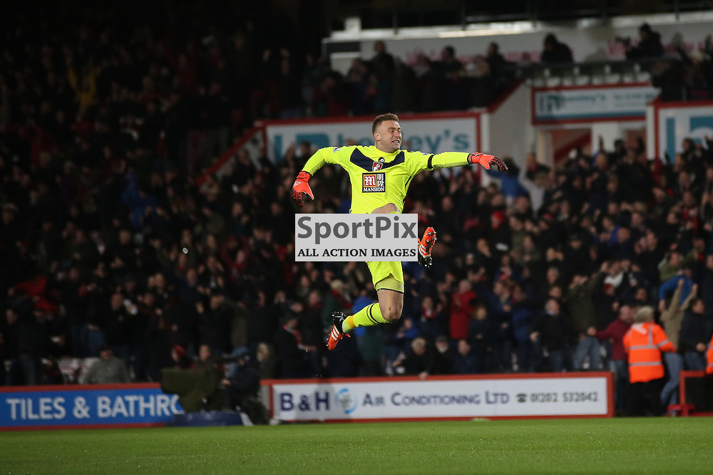 Artur Boruc celebrates During Bournemouth vs Manchester United on Saturday the 12th December 2015.