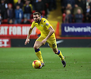Leeds United midfielder Stuart Dallas launching a Leeds united attack during the Sky Bet Championship match between Charlton Athletic and Leeds United at The Valley, London, England on 12 December 2015. Photo by Matthew Redman.