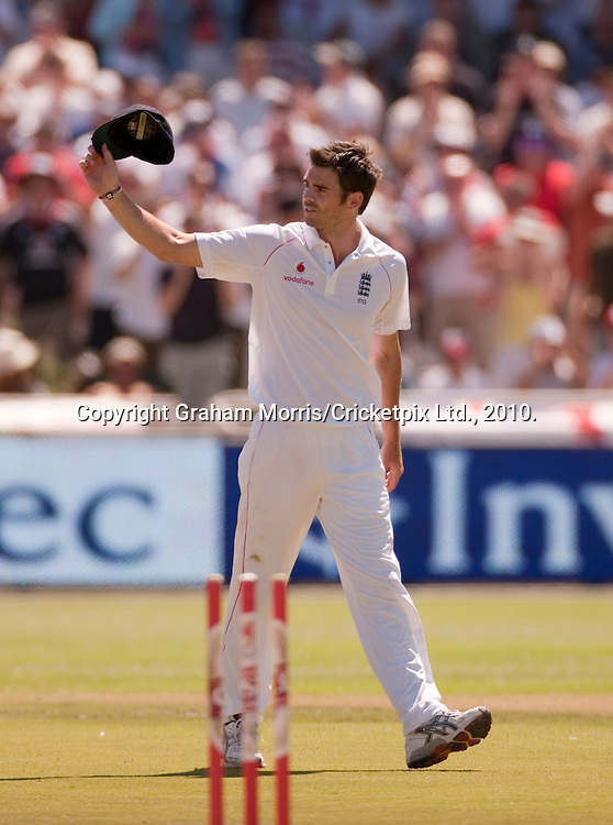 James Anderson celebrates his five wickets during the third Test Match between South Africa and England at Newlands, Cape Town. Photograph © Graham Morris/cricketpix.com (Tel: +44 (0)20 8969 4192; Email: sales@cricketpix.com)