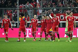 30.11.2013, Allianz Arena, Muenchen, GER, 1. FBL, FC Bayern M&uuml;nchen vs Eintracht Braunschweig, 14. Runde, im Bild Schlussjubel, freude, bejubelt, emotionen, feier, jubelnd, jubeln, freuen, applaudieren, Applaus, applaudiert, Emotion, Ehrenrunde, l-r: Toni KROOS #39 (FC Bayern Muenchen), DANTE #4 (FC Bayern Muenchen), Arjen ROBBEN #10 (FC Bayern Muenchen), Thiago ALCANTARA #6 (FC Bayern Muenchen), Mario GOETZE #19 (FC Bayern Muenchen), Javi MARTINEZ #8 (FC Bayern Muenchen), Manuel NEUER #1 (FC Bayern Muenchen), Daniel VAN BUYTEN #5 (FC Bayern Muenchen) // during the German Bundesliga 14th round match between FC Bayern M&uuml;nchen vs Eintracht Braunschweig at the Allianz Arena in Muenchen, Germany on 2013/11/30. EXPA Pictures &copy; 2013, PhotoCredit: EXPA/ Eibner-Pressefoto/ Kolbert<br /> <br /> *****ATTENTION - OUT of GER*****