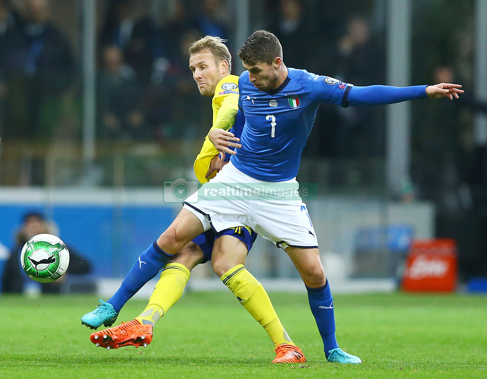 November 13, 2017 - Milan, Italy - FIFA World Cup Qualifiers play-off Switzerland v Northern Ireland.Frello Jorginho of Italy at San Siro Stadium in Milan, Italy on November 13, 2017..Photo Matteo Ciambelli / NurPhoto  (Credit Image: © Matteo Ciambelli/NurPhoto via ZUMA Press)