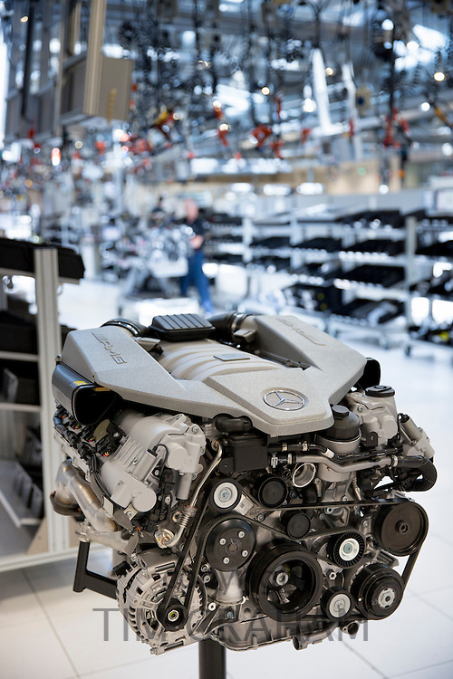 Mercedes-AMG engine production factory in Affalterbach in Germany - M156 6.3 litre V8 AMG engine on display