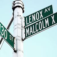 Street sign in Harlem, New York City, on Malcolm X Boulevard.