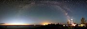 whitefish point, lighthouse, milky way, panorama,night sky, photo