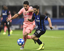 November 6, 2018 - Milan, Milan, Italy - Luis Suárez of Barcelona  and Matteo Politano of Inter Milan fight for the ball during the UEFA Champions League Group Stage match between Inter Milan and Barcelona at Stadio San Siro, Milan, Italy on 6 November 2018. Photo by Giuseppe Maffia. (Credit Image: © AFP7 via ZUMA Wire)