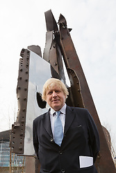 © Licensed to London News Pictures. 17/03/2015. London, UK. Mayor of London, Boris Johnson at a special ceremony to unveil her steel sculpture crafted out of the 9/11 Twin Towers' steel wreckage at the Queen Elizabeth Olympic Park in Stratford today. The artwork by American artist, Miya Ando commemorates the 10th anniversary of the 9/11 attacks and stands at 28 feet tall and weighs over 4 tons. Photo credit : Vickie Flores/LNP