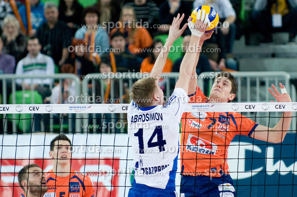 Metevz Kamnik of ACH Volley vs Alexander Abrosimov of Zenit Kazan during volleyball match between ACH Volley (SLO) and Zenit Kazan (RUS) in Playoffs 12 Round of 2011 CEV Champions League, on February 2, 2011 in Arena Stozice, Ljubljana, Slovenia. (Photo By Matic Klansek Velej / Sportida.com)