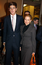"The HON.ALEXANDER SPENCER-CHURCHILL and MISS DANA MALMSTROM at the Vote No Dinner -The dinner is the first stage in building a ""£5m war chest for the campaign for a No vote in the forthcoming referendum on the constitution, held at the Savoy Hotel, London on 16th November 2004.<br />