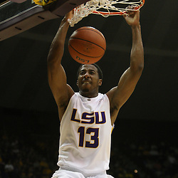 14 February 2009: LSU guard Terry Martin (13) dunks during a NCAA basketball game between SEC rivals the Ole Miss Rebels and the LSU Tigers at the Pete Maravich Assembly Center in Baton Rouge, LA.