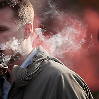"November 19, 2009 - Lexington, Kentucky, USA - University of Kentucky students have a ""smoke-out"" to protest the University's tobacco ban on campus which began today. (Credit image: © David Stephenson/ZUMA Press)"