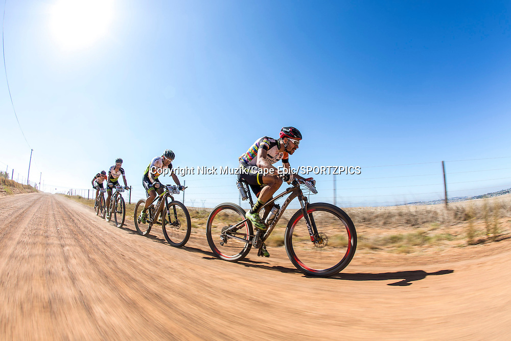 Jochen Kaess of Meerendal Centurian Vaude leads the charge during the final stage (stage 7) of the 2015 Absa Cape Epic Mountain Bike stage race from the Cape Peninsula University of Technology in Wellington to Meerendal Wine Estate in Durbanville, South Africa on the 22 March 2015<br /> <br /> Photo by Nick Muzik/Cape Epic/SPORTZPICS<br /> <br /> PLEASE ENSURE THE APPROPRIATE CREDIT IS GIVEN TO THE PHOTOGRAPHER AND SPORTZPICS ALONG WITH THE ABSA CAPE EPIC
