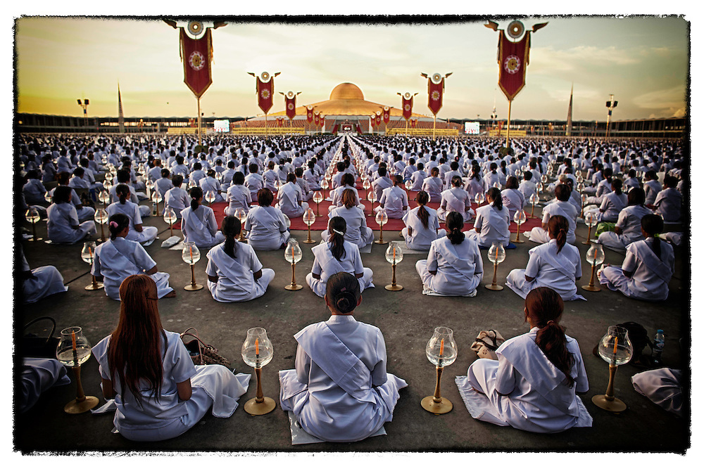 The Buddhist faithful gather at Wat Dhammakaya near Bangkok.