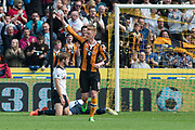 Hull City Midfielder Sam Clucas (11) celebrates as he scores a goal 1-3 during the Premier League match between Hull City and Tottenham Hotspur at the KCOM Stadium, Kingston upon Hull, England on 21 May 2017. Photo by Craig Zadoroznyj.
