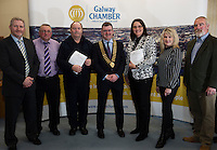 At the launch of the 'Work Experience agreement' between the Galway Chamber of Commerce (GCC) and Galway City Partnership, (GCP) were Peter Salmon, Chief Officer with the local Community Development Committee in Galway City Council, Mike Haines Youth Advocate GCP, Tommy Flaherty Chairperson (GCP), Conor O'Dowd, President Galway Chamber, Helen Kelly Dohas don Oige Training Centre, Maeve Joyce-Crehan GCC, and Declan Brassil CEO GCP  .Photo:Andrew Downes, xposure