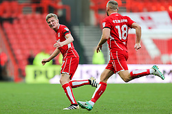 Taylor Moore celebrates with goalscorer Aaron Wilbraham of Bristol City after he makes it 1-0 - Rogan Thomson/JMP - 22/10/2016 - FOOTBALL - Ashton Gate Stadium - Bristol, England - Bristol City v Blackburn Rovers - Sky Bet EFL Championship.