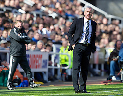 NEWCASTLE-UPON-TYNE, ENGLAND - Sunday, April 1, 2012: Newcastle United's manager Alan Pardew during the Premiership match against Liverpool at St James' Park. (Pic by Vegard Grott/Propaganda)