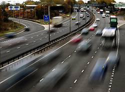 File photo dated 26/10/09 of traffic on a motorway, as the number of under-age car drivers involved in crashes on Britain's roads has reached the highest level in four years, figures show.