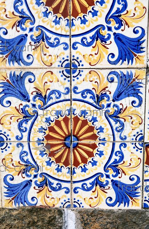 original XVIII century ceramic on the wall  of the historic center of the city of sao luis of maranhao in brazil