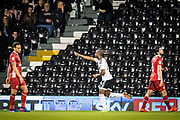 Fulham forward Sone Aluko (24) celebrate goal during the EFL Sky Bet Championship match between Fulham and Blackburn Rovers at Craven Cottage, London, England on 14 March 2017. Photo by Sebastian Frej.