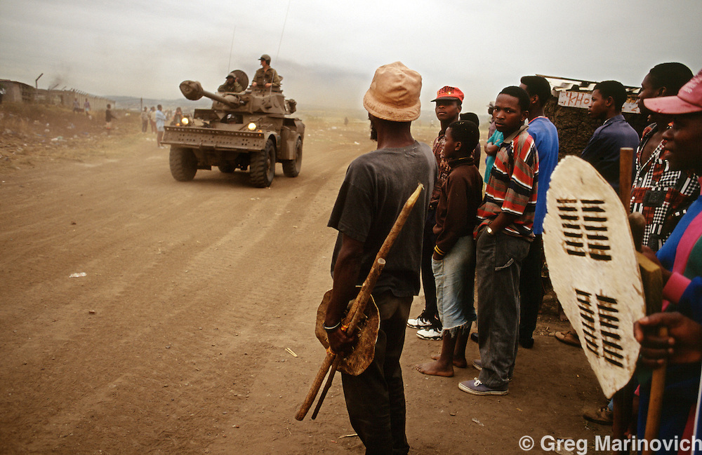 KwaMashu township, KwaZulu Natal, Durban, South Africa.Miltary armoured vehicles patrol  during clashes between African National Congress and Inkatha Freedom Party supporters, 1994.