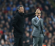 Luis Enrique manager of Barcelona directs his players as Josep Guardiola manager of Manchester City looks worried during the Champions League Group C match at the Etihad Stadium, Manchester. Picture date: November 1st, 2016. Pic Simon Bellis/Sportimage