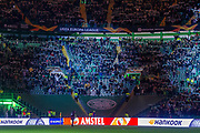 Celtic Park under the lights, with a large section of the ground empty following the decision not to allow in the 'Green Brigade' during the Europa League match between Celtic and Rennes at Celtic Park, Glasgow, Scotland on 28 November 2019.