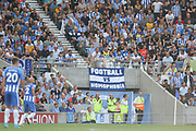 Football versus Homophobia flag during the Premier League match between Brighton and Hove Albion and Manchester City at the American Express Community Stadium, Brighton and Hove, England on 12 August 2017. Photo by Phil Duncan.