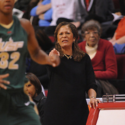 Jan 31, 2009; Piscataway, NJ, USA; Rutgers head coach C. Vivian Stringer points out defensive assignments to her players during the first half of South Florida's 59-56 victory over Rutgers in NCAA women's college basketball at the Louis Brown Athletic Center