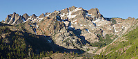Panorama of the Sierra Buttes from Tamarack Lakes Trail in Tahoe National Forest, California.