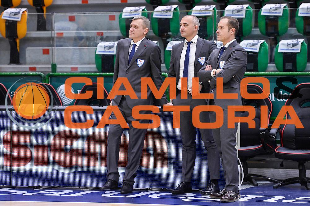 Rimas Kurtinaitis, Marco Sodini<br /> Banco di Sardegna Dinamo Sassari - Red October Pallacanestro Cantù<br /> LegaBasket Serie A Poste Mobile 2016/2017<br /> Sassari 12/02/2017<br /> Foto Ciamillo-Castoria