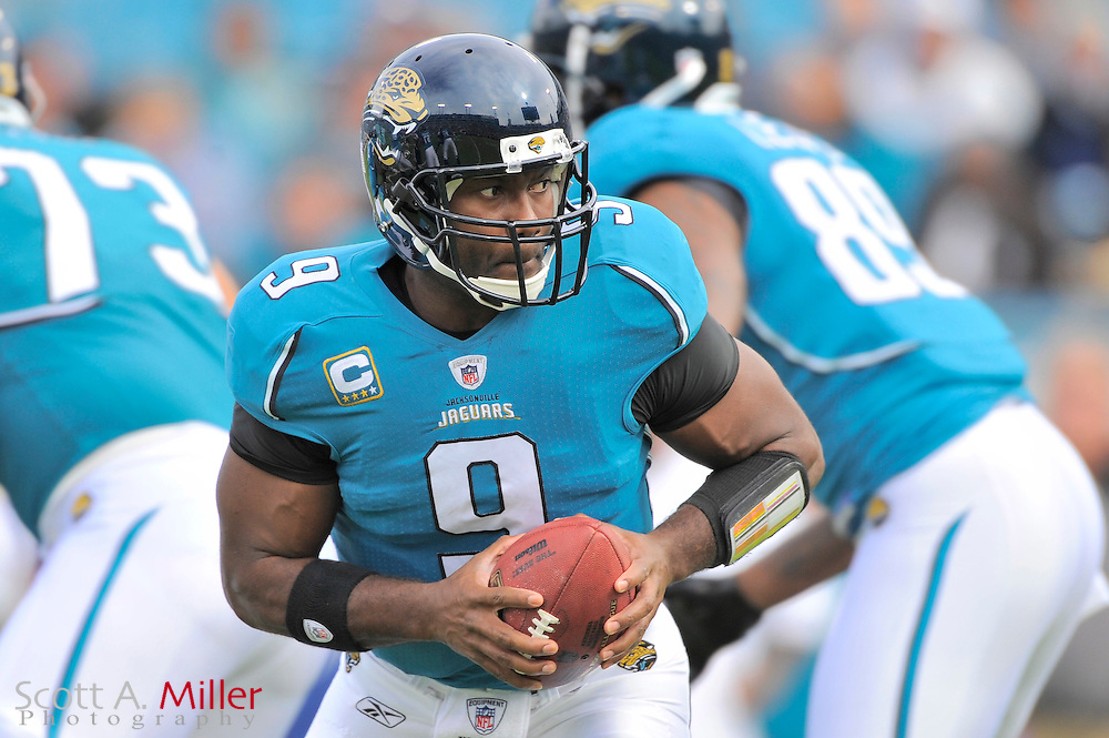 Dec. 6, 2009; Jacksonville, FL, USA; Jacksonville Jaguars quarterback David Garrard (9) during the Jags game against the Houston Texans at Jacksonville Municipal Stadium. ©2009 Scott A. Miller