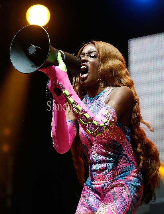READING, ENGLAND - AUGUST 25:  Azealia Banks  performs live on the NME/Radio 1 stage during day three of Reading Festival at Richfield Avenue on August 25, 2013 in Reading, England.  (Photo by Simone Joyner/Getty Images)