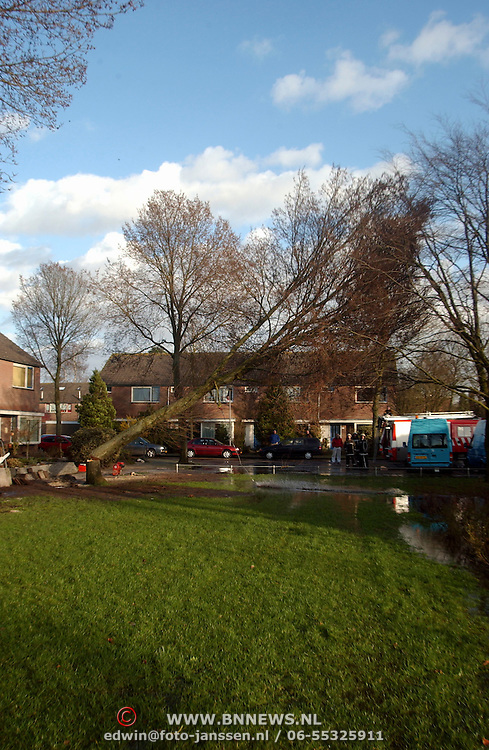Stormschade, verwijderen boom door brandweer Kajuit Huizen