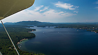 Flying over Lake Sunapee, New Hampshire