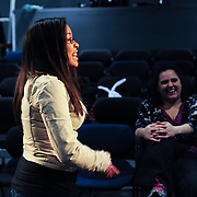 A student from Cocheco Arts and Technology Academy  in an Improv master class with comedian Eileen Montelione from The Second City at The Music Hall Loft in Portsmouth, NH