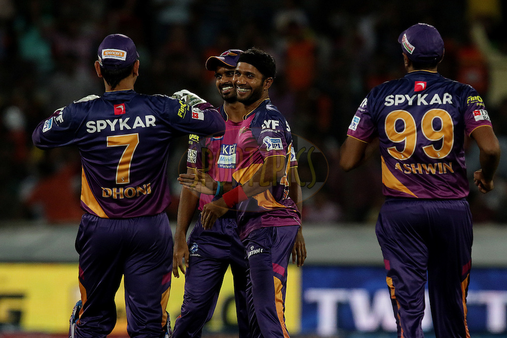 Ashok Dinda of Sunrisers Hyderabad celebrates the wicket of  Sunrisers Hyderabad captain David Warner during match 22 of the Vivo IPL 2016 (Indian Premier League ) between the Sunrisers Hyderabad and the Rising Pune Supergiants held at the Rajiv Gandhi Intl. Cricket Stadium, Hyderabad on the 26th April 2016<br /> <br /> Photo by Rahul Gulati / IPL/ SPORTZPICS