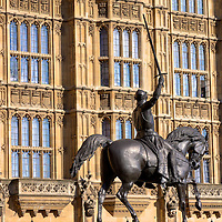 King Richard I (Lionheart) rides in front of the Houses of Parliament