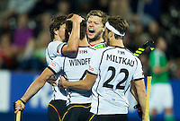 LONDON -  Unibet Eurohockey Championships 2015 in  London.  Ireland v Germany 0-1. Lukas Windfeder has scored 0-1 and celebrates with Martin Häner and Marco Miltkau (r).   WSP Copyright  KOEN SUYK