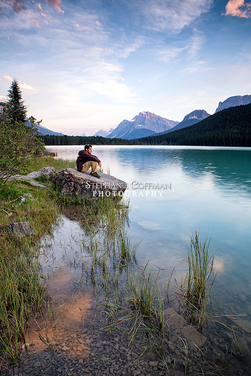 Lingering light at Waterfowl Lakes in Banff National Park, Alberta, Canada. Model: Jessie Coffman