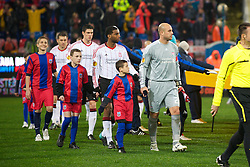 BUCHAREST, ROMANIA - Thursday, December 2, 2010: Liverpool's captain goalkeeper Jose Reina leads his side out to face FC Steaua Bucuresti during the UEFA Europa League Group K match at the Stadionul Steaua. (Pic by: David Rawcliffe/Propaganda)