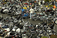Rows and rows of Harley Davidson bikes line the parking lot of Hals Harley Davidson store Thursday Aug. 28, 2003 New Berlin Wis. Thousands of Harley Davidson bikers from all over the world came to Wisconsin to help celebrate Harley Davidson 100th anniversary.   photo by Darren Hauck