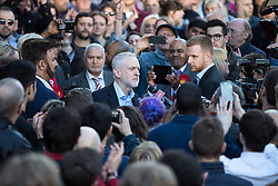 May 5, 2017 - Manchester, Greater Manchester, UK - Manchester, UK.  Labour Party Leader JEREMY CORBYN visits Manchester following Andy Burnham's victory in the Manchester Metro mayoralty campaign , for a Momentum Rally on the steps of the Manchester Convention Centre . Andy Burnham did not attend  (Credit Image: © Joel Goodman/London News Pictures via ZUMA Wire)