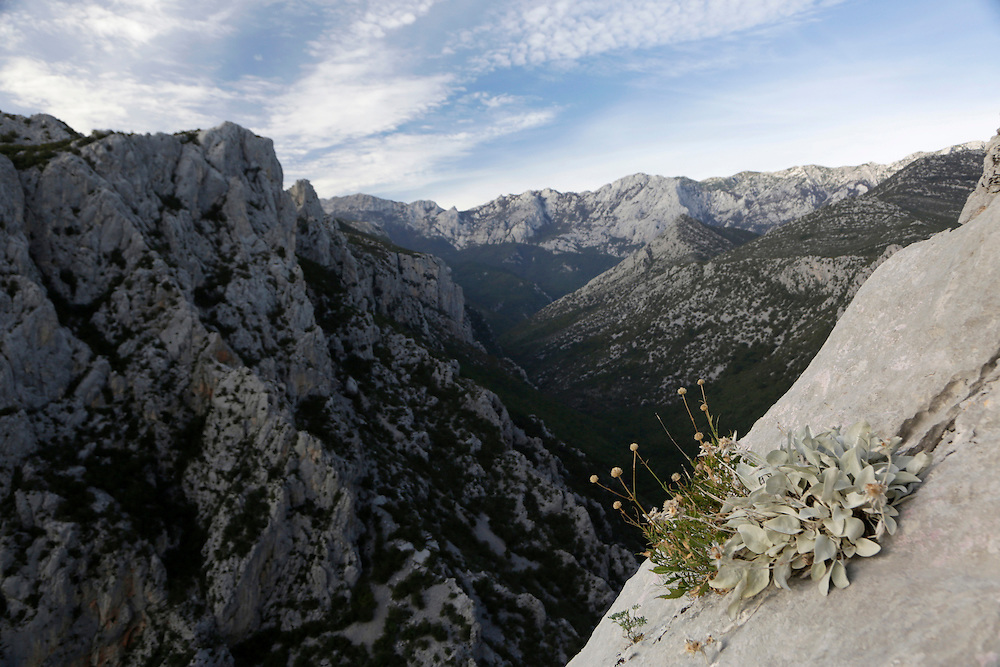 View from the climbing route 'Brid za Veliki Cekic' on Anica Kuk, Paklenica National Park,  Croatia.