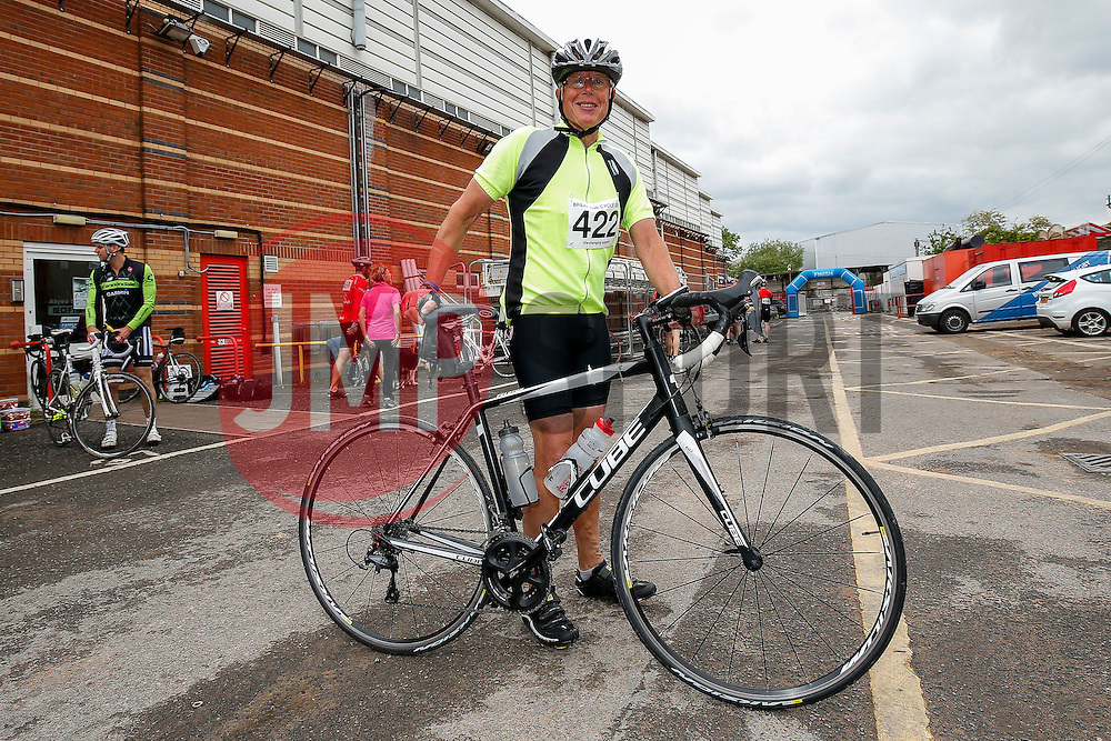 Cyclists (422) take part in Break the Cycle, a 110 mile charity bike ride organised by the Bristol, Bath and Gloucester Rugby Community Foundations, visiting their respective stadia, Ashton Gate, The Recreation Ground and Kingsholm Stadium - Photo mandatory by-line: Rogan Thomson/JMP - 07966 386802 - 14/06/2015 - SPORT - Cycling - Bristol, England - Ashton Gate Stadium.