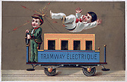 Children playing with toy electric tramway, late 19th century. Science Technology Electricity Toy