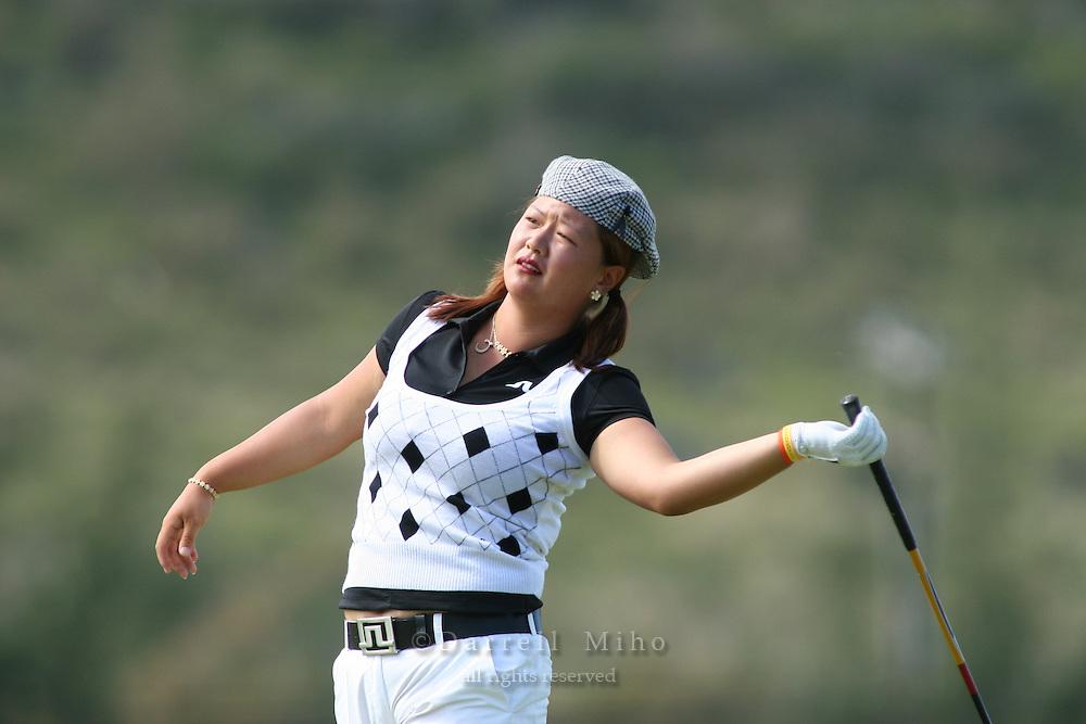 February 17, 2006; Kahuku, HI - Christina Kim watches her tee shot during the second round at the LPGA SBS Open at Turtle Bay Resort...Mandatory photo credit: Darrell Miho.© Darrell Miho