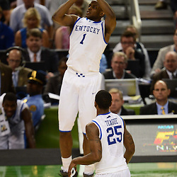 Mar 31, 2012; New Orleans, LA, USA; Kentucky Wildcats guard Darius Miller (1) shoots against the Louisville Cardinals during the second half in the semifinals of the 2012 NCAA men's basketball Final Four at the Mercedes-Benz Superdome. Mandatory Credit: Derick E. Hingle-US PRESSWIRE